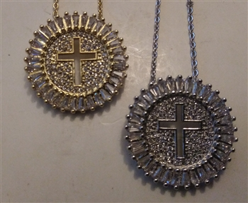 "Rounded Cross Medal with Rhinestones in Shiny Silver or Golden 1"" With 18"" Cross Chain  - Catholic cross pendants and crucifixes in authentic antique and vintage styles with amazing detail. Large collection of crucifixes, centerpieces, and heirloom medal"