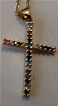 "Delicate Cross with Rhinestones in Shiny Silver  1"" on Golden Cross Chain - Catholic cross pendants and crucifixes in authentic antique and vintage styles with amazing detail. Large collection of crucifixes, centerpieces, and heirloom medals"