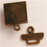 "Square Box Clasp 1"" - Around two dozen jewelry clasp styles. Toggle clasps, fish hook clasps, ring clasps and more for your bracelet and necklace designs. Handmade vintage originals cast in sterling silver and bronze."