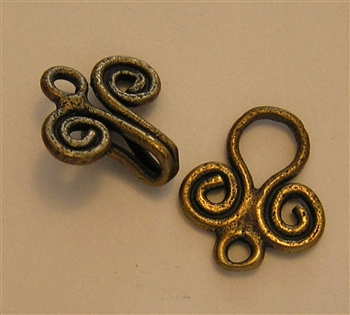 "Handmade Hook and Eye Clasp 1 1/4"" - Around two dozen jewelry clasp styles. Toggle clasps, fish hook clasps, ring clasps and more for your bracelet and necklace designs. Handmade vintage originals cast in sterling silver and bronze."
