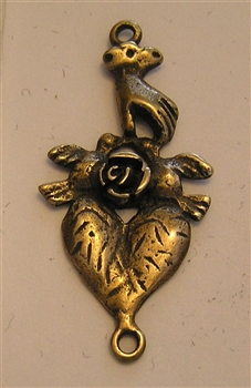 Heart Hand & Rose Pendant 1 1/2""