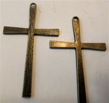 "Large Solid Simple Cross Pendant - Ancient Bronze Religious Pendant - LOT OF 2, 2 3/8"" - Catholic cross pendants and crucifixes in authentic antique and vintage styles with amazing detail. Large collection of crucifixes, centerpieces, and heirloom medals"