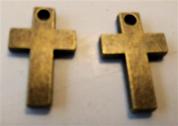 "Small solid simple cross pendant - Lot of 3, 7/8"" - Catholic cross pendants and crucifixes in authentic antique and vintage styles with amazing detail. Large collection of crucifixes, centerpieces, and heirloom medals made by hand in California, US."