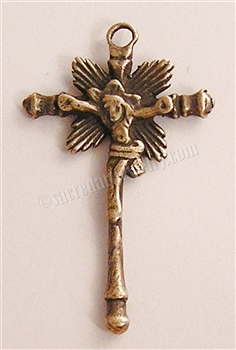 "Childs Crucifix 1 1/2""  - Catholic cross pendants and crucifixes in authentic antique and vintage styles with amazing detail. Large collection of crucifixes, centerpieces, and heirloom medals made by hand in California, US."