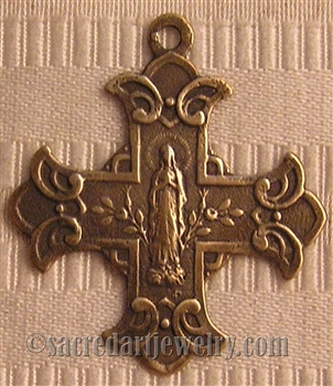 "Scapular Cross Medal 1 1/2""- Catholic cross pendants and crucifixes in authentic antique and vintage styles with amazing detail. Large collection of crucifixes, centerpieces, and heirloom medals made by hand in California, US."