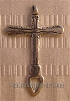 "Mexican Cross with Heart 1 3/4"" - Catholic cross pendants and crucifixes in authentic antique and vintage styles with amazing detail. Large collection of crucifixes, centerpieces, and heirloom medals made by hand in California, US."