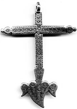 "Mexican Winged Heart Cross 2 3/4"" - Catholic cross pendants and crucifixes in authentic antique and vintage styles with amazing detail. Large collection of crucifixes, centerpieces, and heirloom medals made by hand in California, US."