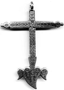 "Cross with Heart and Wings 2 3/4"" - Catholic cross pendants and crucifixes in authentic antique and vintage styles with amazing detail. Large collection of crucifixes, centerpieces, and heirloom medals made by hand in California, US."