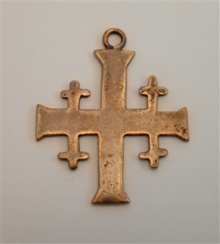 "Jerusalem Cross 1 1/2"" - Antique or Vintage Model, in Sterling Silver or Bronze. The symbolism of the five-fold cross is variously given as the Five Wounds of Christ, Christ and the four quarters of the world, Christ and the four evangelists."