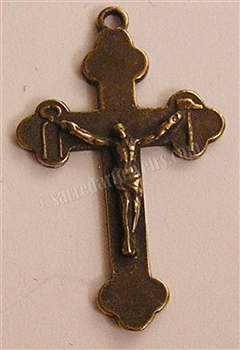 "Tools of Passion Crucifix 1 1/2"" - Catholic cross pendants and rosary crucifixes in authentic antique and vintage styles with amazing detail. Large collection of crucifixes, centerpieces, and heirloom medals made by hand in California, US."