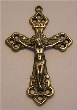 "Trinity Crucifix 1 3/4"" - Catholic cross pendants and rosary crucifixes in authentic antique and vintage styles with amazing detail. Large collection of crucifixes, centerpieces, and heirloom medals made by hand in California, US."