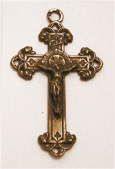"Small Elegant Crucifix 1 3/4""  - Catholic cross pendants and rosary crucifixes in authentic antique and vintage styles with amazing detail. Large collection of crucifixes, centerpieces, and heirloom medals made by hand in California, US."