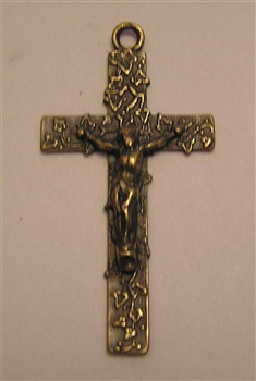 "Small Crucifix 1 9/16"" - Catholic cross pendants and rosary crucifixes in authentic antique and vintage styles with amazing detail. Large collection of crucifixes, centerpieces, and heirloom medals made by hand in California, US."