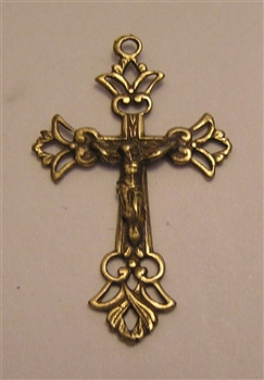 "Delicate Crucifix 1 1/2"" - Catholic religious rosary parts in authentic antique and vintage styles with amazing detail. Large collection of crucifixes, centerpieces, and heirloom medals made by hand in California, US."