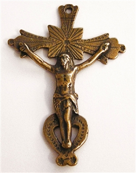 "Southwestern Crucifix 2 1/4"" - Catholic religious rosary parts in authentic antique and vintage styles with amazing detail. Large collection of crucifixes, centerpieces, and heirloom medals made by hand in California, US. Available in true bronze and .925"