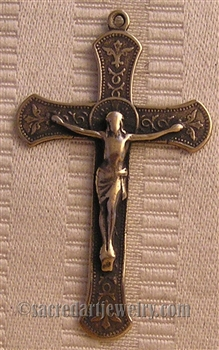 "Western Europe Crucifix 2"" - Catholic religious rosary parts in authentic antique and vintage styles with amazing detail. Large collection of crucifixes, centerpieces, and heirloom medals made by hand in California, US."