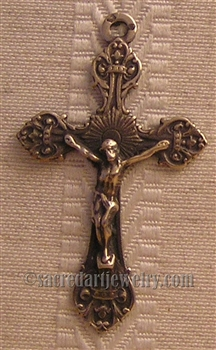 "Small Floral Crucifix 1 3/4"" - Religious crosses, Catholic crucifixes, rosary parts in authentic antique and vintage styles with amazing detail. Large collection of crucifixes, centerpieces, and heirloom medals made by hand in California, US."