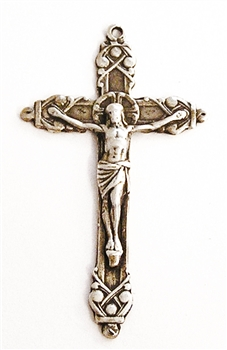 "Elegant Crucifix 1 3/4"" - Religious crosses, Catholic crucifixes, rosary parts in authentic antique and vintage styles with amazing detail. Large collection of crucifixes, centerpieces, and heirloom medals made by hand in California, US."