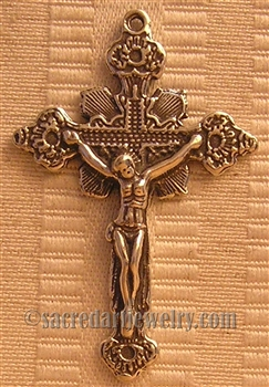 "Flowers Crucifix 1 3/4"" - Religious crosses, Catholic crucifixes, rosary parts in authentic antique and vintage styles with amazing detail. Large collection of crucifixes, centerpieces, and heirloom medals made by hand in California, US."