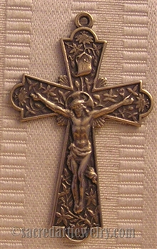"Flowers Crucifix 2"" - Religious crosses, Catholic crucifixes, rosary parts in authentic antique and vintage styles with amazing detail. Large collection of crucifixes, centerpieces, and heirloom medals made by hand in California, US. Available in true bro"