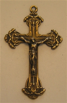 "Floral Crucifix 1 3/4"" - Religious crosses, Catholic crucifixes, rosary parts in authentic antique and vintage styles with amazing detail. Large collection of crucifixes, centerpieces, and heirloom medals made by hand in California, US."