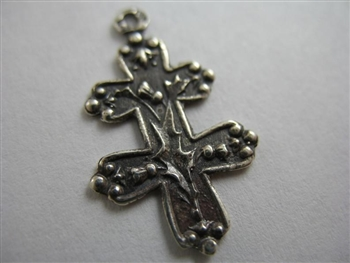 "Tiny Small Cross of Lorraine 3/4"" - Religious crosses, Catholic crucifixes, rosary parts in authentic antique and vintage styles with amazing detail. Large collection of crucifixes, centerpieces, and heirloom medals made by hand in California, US."