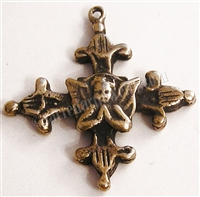 "Angel Cross Fleur de Lis 1""- Catholic religious medals in authentic antique and vintage styles with amazing detail. Large collection of heirloom pieces made by hand in California, US. Available in true bronze and sterling silver."