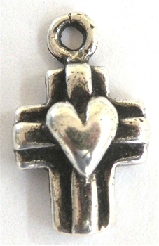 "Cross with Heart 1/2"" - Religious crosses, Catholic crucifixes, rosary parts in authentic antique and vintage styles with amazing detail. Large collection of crucifixes, centerpieces, and heirloom medals made by hand in California, US."