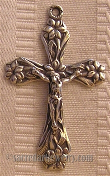 "Crucifix with Lilies 1 3/4"" - Religious crosses, Catholic crucifixes, rosary parts in authentic antique and vintage styles with amazing detail. Large collection of crucifixes, centerpieces, and heirloom medals made by hand in California, US."