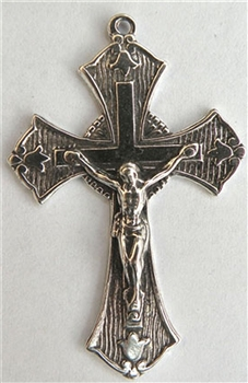 "Tulips Crucifix 1 3/4"" - Religious crosses, Catholic crucifixes, rosary parts in authentic antique and vintage styles with amazing detail. Large collection of crucifixes, centerpieces, and heirloom medals made by hand in California, US. Available in true"