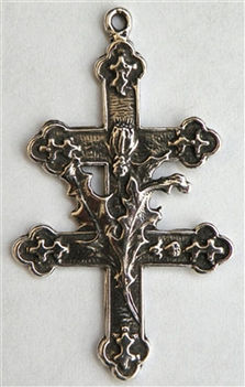 "Cross of Lorraine Pendant 1 3/8"" - Catholic religious medals and Cross of Lorraine necklace pendants and in authentic antique and vintage styles with amazing detail. Big collection of crosses, medals and a variety of chains to create your custom look."