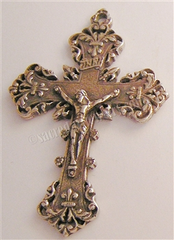 "Pectoral Crucifix 2 1/4"" - Catholic religious rosary parts in authentic antique and vintage styles with amazing detail. Large collection of crucifixes, centerpieces, and heirloom medals made by hand in the US. In true bronze and .925 sterling silver."