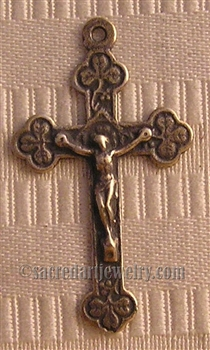 "Little Clovers Crucifix 2"" necklace pendant or small rosary crucifix - Catholic religious rosary parts in authentic antique and vintage styles with amazing detail. Large collection of crucifixes, centerpieces, in true bronze and 925 sterling silver."