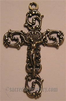 French Scrolls Crucifix  - Catholic rosary parts and religious crosses in authentic antique and vintage styles with amazing detail. Large collection of crucifixes, centerpieces, and heirloom medals made by hand in true bronze or sterling silver.