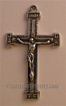 "Small Handmade Crucifix 1 1/4"" - Catholic religious rosary parts in authentic antique and vintage styles with amazing detail. Large collection of crucifixes, centerpieces, and heirloom medals made by hand in true bronze or 925 sterling silver."