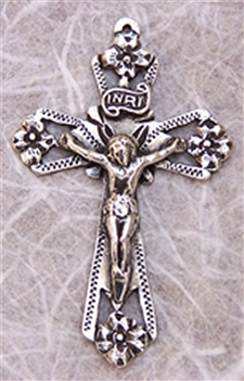 "Small Mexican Crucifix 1 3/4"" - Catholic religious rosary parts in authentic antique and vintage styles with amazing detail. Large collection of crucifixes, centerpieces, and heirloom medals made by hand in true bronze and 925 sterling silver."