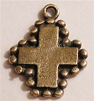 "Small Cross Granulated 1""- Catholic religious medals and cross necklaces and in authentic antique and vintage styles with amazing detail. Big collection of crosses, medals and a variety of chains to create your custom look. In sterling silver or bronze."