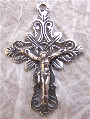"Delicate Mexican Crucifix 1 1/2"" - Catholic religious rosary parts in authentic antique and vintage styles with amazing detail. Large collection of crucifixes, centerpieces, and heirloom medals made by hand in sterling silver or bronze."