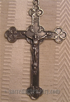 "Large Irish Crucifix 2 3/4"" - Catholic religious medals in authentic antique and vintage styles with amazing detail. Large collection of heirloom pieces made by hand in California, US. Available in true bronze and sterling silver."