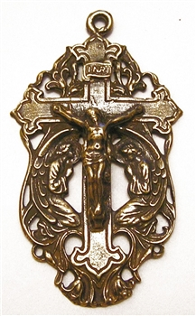 "Two Angels Crucifix 2"" - Catholic and Christian religious medals and rosary parts in authentic antique and vintage styles with amazing detail. Large collection of heirloom pieces made by hand in California, US. Available in true bronze and sterling"