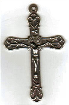 "Large Elegant Crucifix 2 1/2 ""Necklace pendant or rosary crucifix - Catholic and Christian religious medals and rosary parts in authentic antique and vintage styles with amazing detail. Large collection of heirloom pieces in sterling silver and bronze."