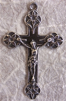 "Lilies of the Valley Crucifix 1 3/4"" - Catholic religious rosary parts and medals in authentic antique and vintage styles with amazing detail. Large collection of crucifixes, centerpieces, and heirloom medals made by hand in sterling silver and bronze."