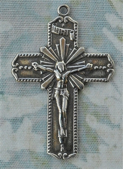 "Crucifix Pendant 1 3/8"" - Catholic religious rosary parts, crosses and medals in authentic antique and vintage styles with amazing detail. Large collection of crucifixes, centerpieces, and heirloom medals made by hand in California, US. Available in true"