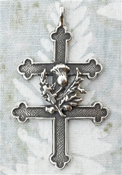 "Cross of Lorraine with Thistle 1 5/8"" - Catholic religious medals in authentic antique and vintage styles with amazing detail. Large collection of heirloom pieces made by hand in California, US. Available in true bronze and sterling silver."