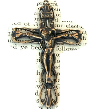 "Crucifix, Floral Necklace Pendant Openwork Italy ROMA 1 7/8"" - Catholic cross pendants and crucifixes in authentic antique and vintage styles with amazing detail. Large collection of crucifixes, centerpieces, and heirloom medals made by hand in California"