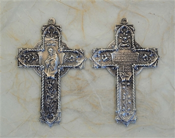 "Ornate St. Francis Prayer with Flowers and Vines 2 1/2"" - Catholic cross pendants and crucifixes in authentic antique and vintage styles with amazing detail. Large collection of crucifixes, centerpieces, and heirloom medals made by hand in California, US."