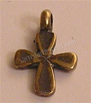 "Small Cross from Africa 7/8"" - Catholic religious medals in authentic antique and vintage styles with amazing detail. Large collection of heirloom pieces made by hand in California, US. Available in true bronze and sterling silver."