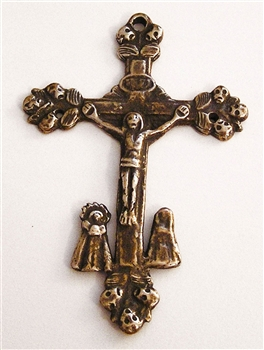 "Large Latin America Crucifix 3"" - Catholic religious medals in authentic antique and vintage styles with amazing detail. Large collection of heirloom pieces made by hand in California, US. Available in true bronze and sterling silver."