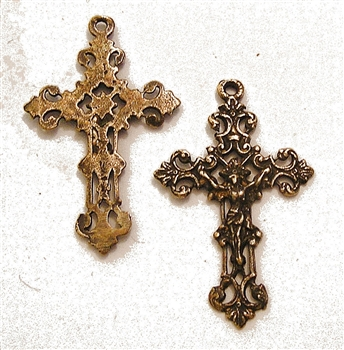 "French Crucifix 1 1/2"" - Catholic religious medals in authentic antique and vintage styles with amazing detail. Large collection of heirloom pieces made by hand in California, US. Available in true bronze and sterling silver."