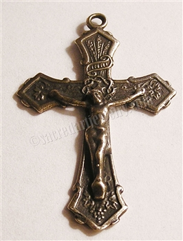 "First Communion Crucifix 1 7/8"" - Catholic religious medals in authentic antique and vintage styles with amazing detail. Large collection of heirloom pieces made by hand in California, US. Available in true bronze and sterling silver."